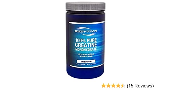 Amazon.com: BodyTech 100 Pure Creatine Monohydrate Unflavored 5 GM/Serving  Supports Muscle Strength Mass (18 Ounce Powder): Health & Personal Care