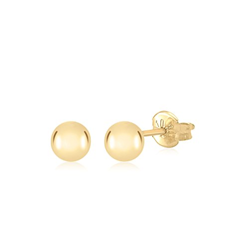 10K Yellow Gold Polished Stud Ball Earrings Children Kids Adult Second Piercing - Earrings Second Piercing Studs