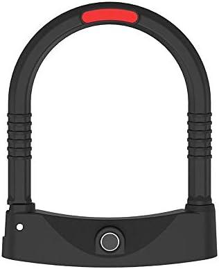 スマート指紋ロックUロック自転車ロック電動バイクロック秒オープン防水錆 (色 : ブラック, サイズ : ワンサイズ)