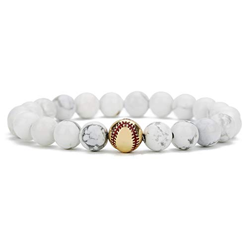 Linsoir beads Trendy Baseball Bracelet Lava Stone/White Howlite/Matte Black Stone Beaded Bracelet Sports Jewelry for Boy Gift Jewelry 1 pc -