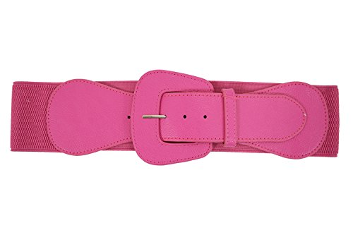 (Retro Vintage Chunky Buckle Elastic Wide Stretch Waist Belt (Hot Pink))