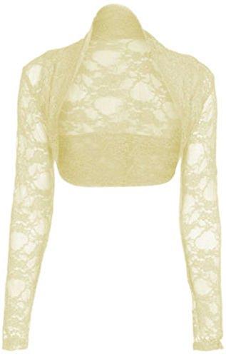 NEW diseño de encaje para mujer de manga larga para Toreras para mujer en la parte superior y boleros chaqueta 8-26 crema