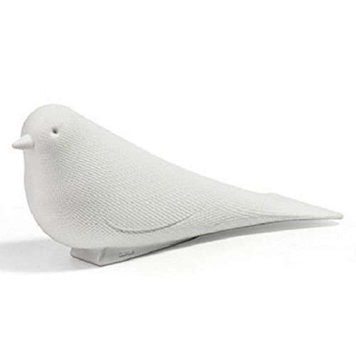 Door Stopper Wedge Dove by Qualy Design Studio. Pigeon Bird Shape. Design Oriented and Functional Door Stop. Great Creative Housewarming Gift. Made of Soft Plastic. White -
