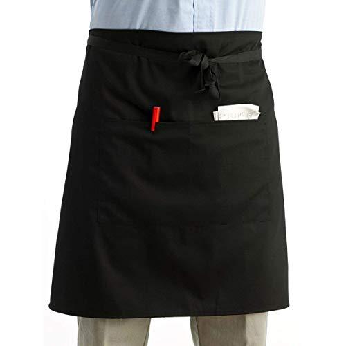 Leorx riemschort keukenschort kelnerschort kort schort met dubbele zakken (zwart)