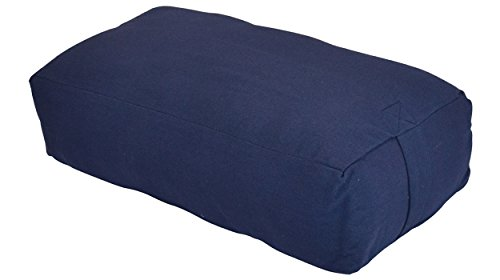 YogaAccessories MAXSupport Deluxe Rectangular Cotton Yoga Bolster - Blue