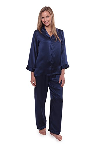 TexereSilk Women's Luxury Silk Pajama Set (Morning Dew, Gulf Blue, Medium/Petite) Cool Gifts for Bridal Shower WS0001-GFB-MP