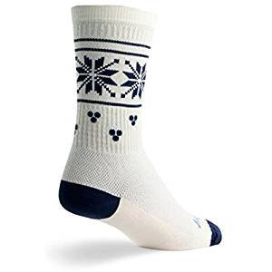 SockGuy Wool Crew 8in Holly Day Cycling/Running Socks (Holly Day - S/M)