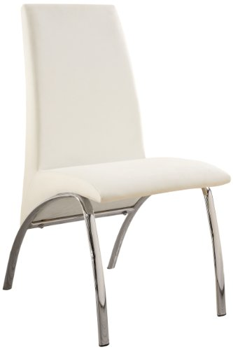 Furniture of America Iden Modern Leatherette Dining Side Chair, White, Set of 2 Review