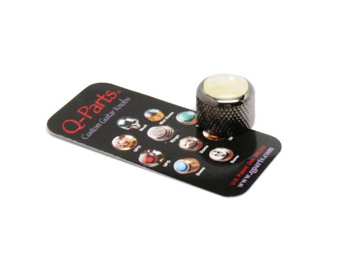 Knobs Acrylic Dome (Q-Parts Dome Guitar Knob, Black Chrome with Acrylic White Pearl Inlay)