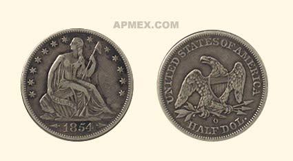 1854 O Liberty Seated Half Dollar XF (Details) Half Dollar Extremely Fine