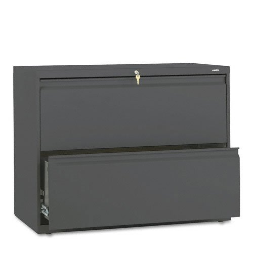 HON : 800 Series Two-Drawer Lateral File, 36w x 19-1/4d x 28-3/8h, Charcoal -:- Sold as 2 Packs of - 1 - / - Total of 2 Each