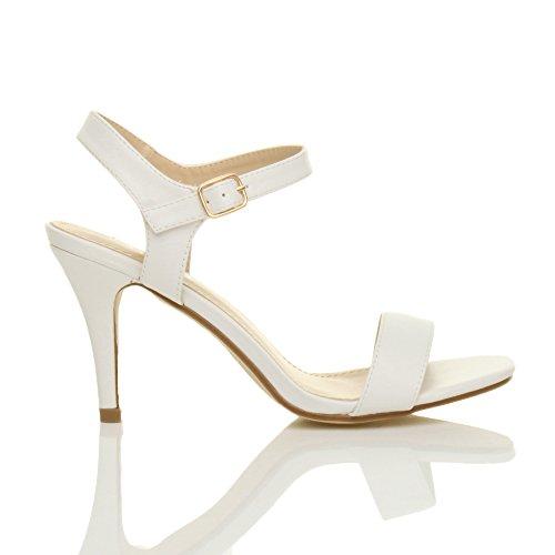 Matte Sandals Ajvani Heel Women Size There High White Shoes Barely BwFzxvU