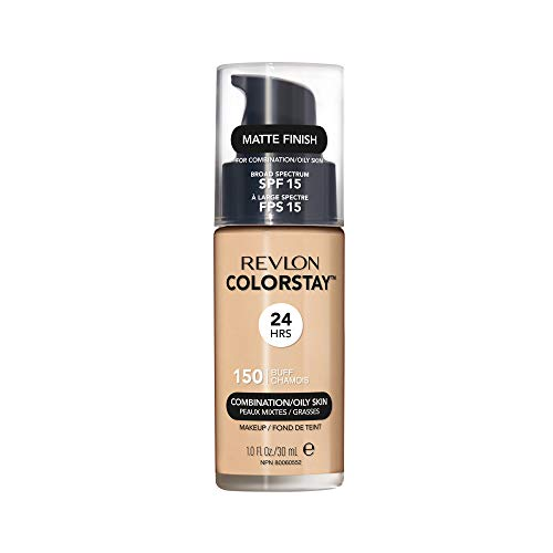 Revlon ColorStay Liquid Foundation For Combination/oily Skin, SPF 15 Buff, 1 Fl Oz (Best Full Coverage Non Comedogenic Foundation)