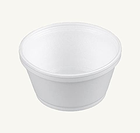Dart 8SJ20, 8-Ounce Customizable White Foam Cold And Hot Food Container with Translucent Vented Lid, Dessert Ice-Cream Yogurt Cups, Deli Food Containers with Matching Covers - Dart Vented Lid