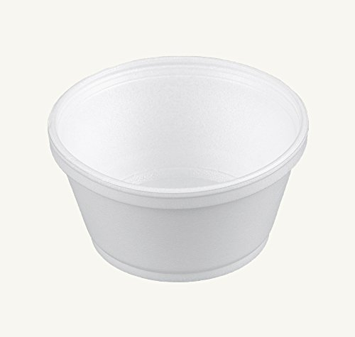 Dart 8SJ20, 8-Ounce Customizable White Foam Cold And Hot Food Container with Clear High Dome Lid, Dessert Ice-Cream Yogurt Cups, Deli Food Containers with Matching Covers - Styrofoam Soup Containers