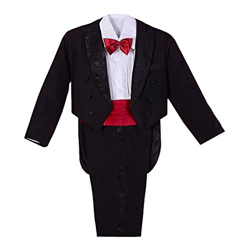 Dressy Daisy Baby Boys' Classic Tuxedo w/Tail 5 Pcs Set Formal Suits Wedding Outfit Size 18-24 Months Black Red -