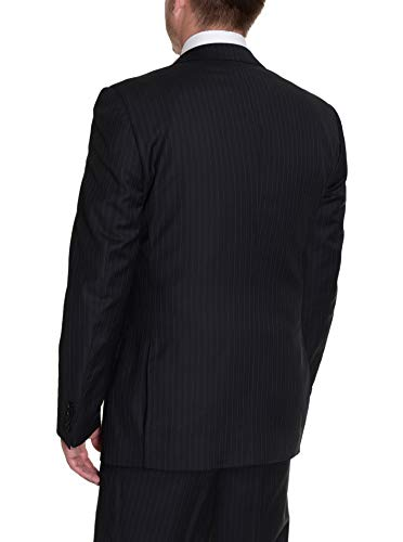 Label E Modern Fit Black Pinstriped Two Button Wool Suit ()