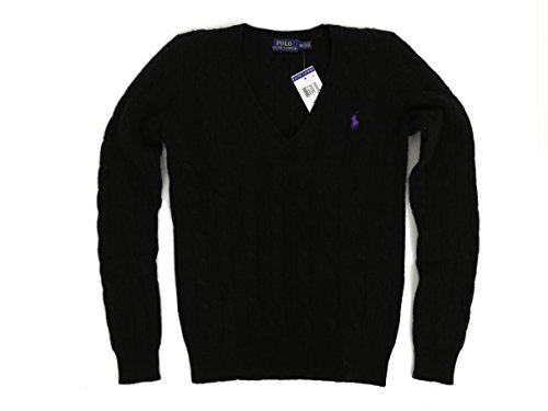 Cashmere Sweater Cable (Polo Ralph Lauren Women's Merino Wool Cashmere Cable Sweater (M, Polo Black))