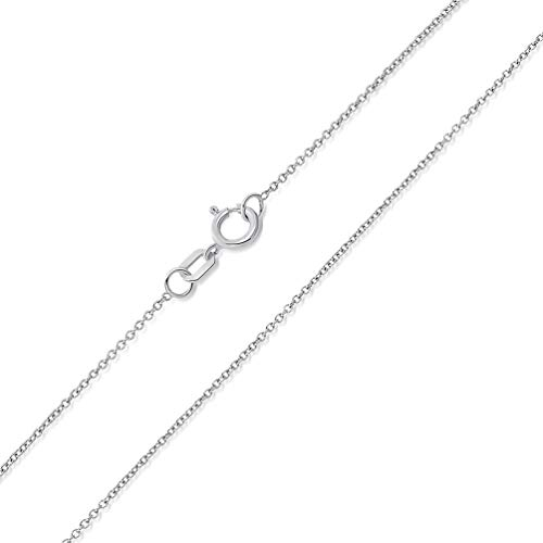 14k White Gold 0.5mm Dainty Rolo Cable Chain Chain Necklace with Spring Ring Clasp, 18