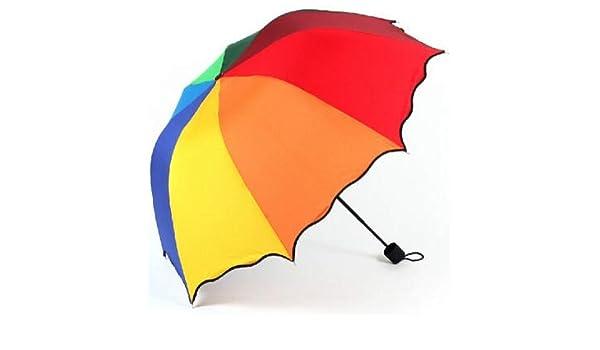 ZGMMM para Mujeres Paraguas de Lluvia 4 Paraguas Femeninos Plegables Mango Cómodo Princesa Craft Viajes al Aire Libre Colorido: Amazon.es: Jardín