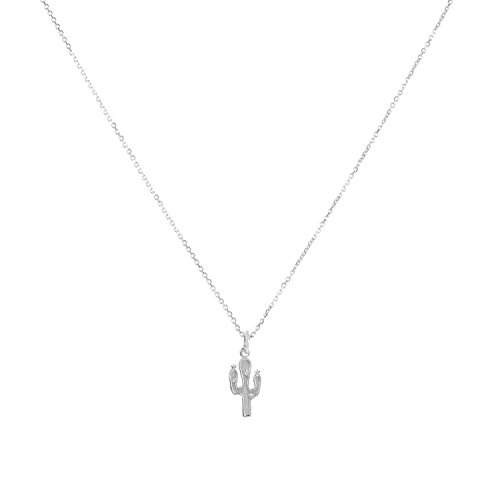 Sterling Silver Cactus Pendant Necklace, 18