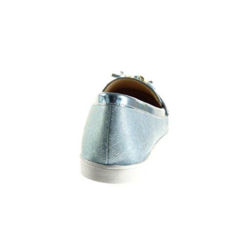 Angkorly - damen Schuhe Mokassin - Slip-On - Franse - Bommel - Patent flache Ferse 1.5 CM - Blau