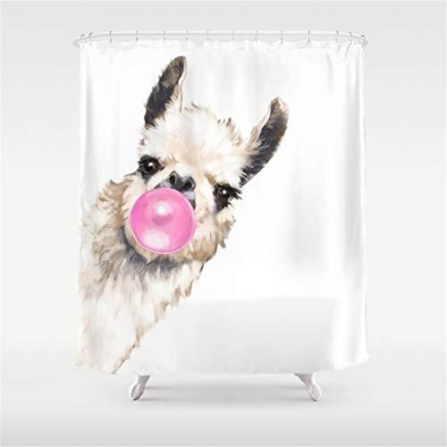 Breezming Bubble Gum Sneaky Llama Shower Curtain 60x72 - Gum Fish Bubble
