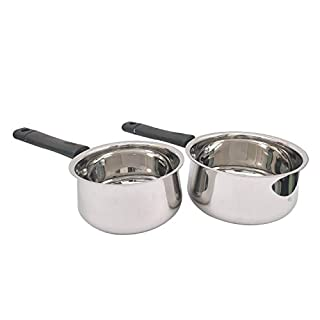 Set of 2 Stainless Steel Sauce Pan With Induction Base for Home Kitchen Restaurant Cookware Pots and Pans (33 Oz & 50 Oz)