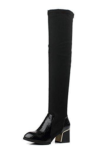 YE Womens High Heels Lycra Block Heel Stretch Long Over The Knee High Boots Black Black