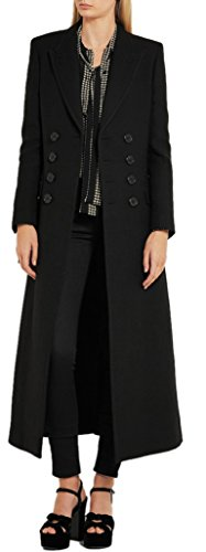 - GESELLIE Women's Full-Length Double Breasted Wool Overcoat Fashion Black Lapel Warm Coat L