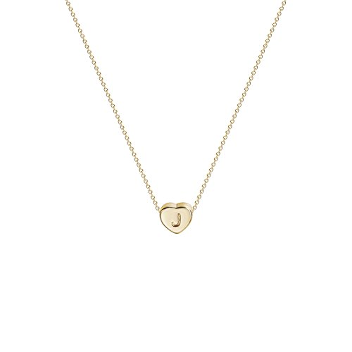 (Tiny Gold Initial Heart Necklace-14K Gold Filled Handmade Dainty Personalized Heart Choker Necklace for Women Letter J)
