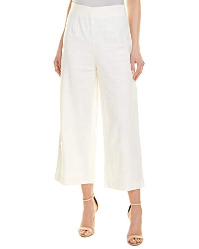 - MOON RIVER Womens Linen-Blend Crop Pant, Xs, White