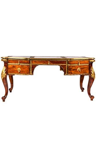 Mesa de escritorio de estilo antiguo, 165 cm, color marron, vintage, oriental, tallada a mano, mesa de ordenador, consola de madera maciza, decoracion asiatica, muebles de la India