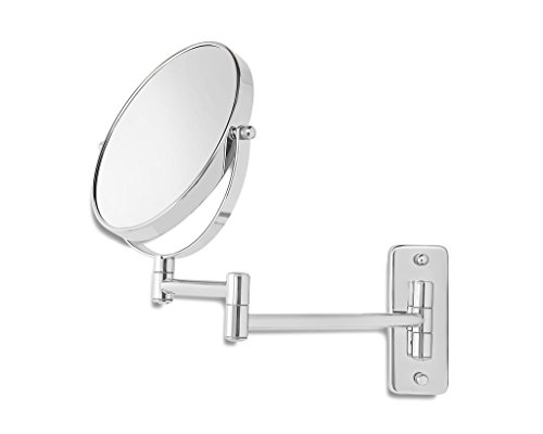 Saganizer Wall Mirror Makeup Mirror Two-Sided Swivel Mounted Mirror with 7X Magnification -