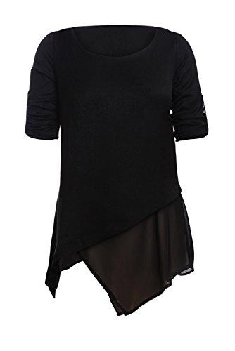 Printemps Tunique Chic de 4 Ravers Femme 3 en Chemisier Blouse Noir Fluide Longue Mousseline Manche Soie Dokotoo wpq7Z6gWw