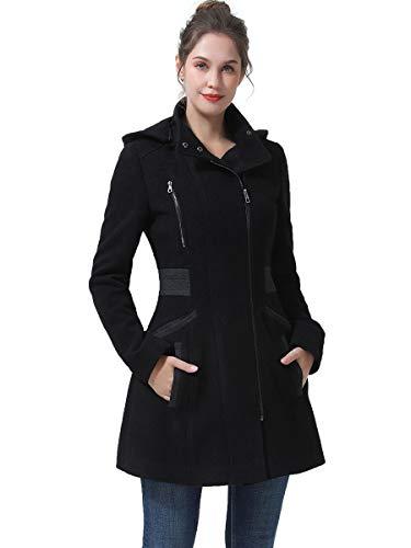 BGSD Women's Ivy Hooded Color Block Wool Coat (Regular & Plus Size & Petite)
