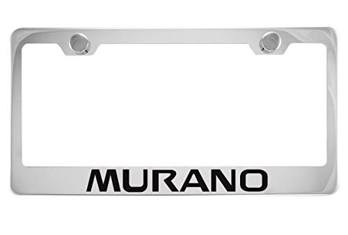 Fit Nissan Murano Chrome License Plate Frame with Cap (Stainless Steel)