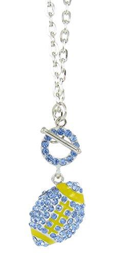 Football Rhinestone Toggle Necklace - Blue Crystal and Yellow Enamel - Bowl Ucla Football Rose