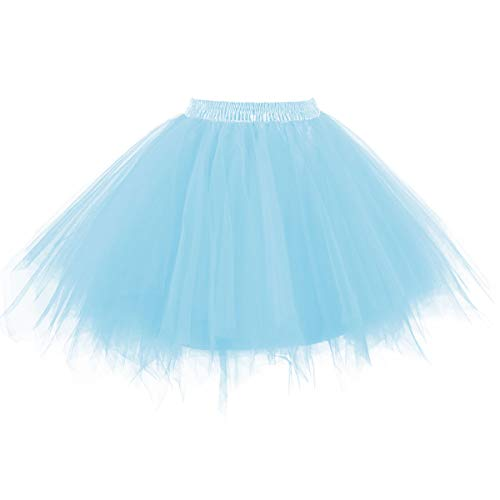 Topdress Women's 1950s Vintage Tutu Petticoat Ballet Bubble Skirt (26 Colors) Light Blue M