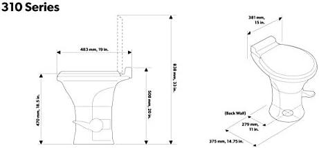 Dometic 310 Series Standard Toilet 302310031, 19 75