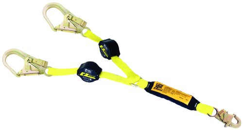 3M DBI-SALA Retrax 1241481 Shock Absorbing Lanyard, 6' 100 Percent Tie-Off Retractable Web and Snap Hook At Center, Steel Rebar Hooks At Leg Ends, Navy/Yellow