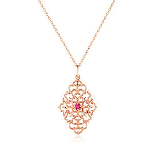 ANAZOZ Hollow Flower Sterling Silver Necklace Unique Pink Tourmaline Rose Gold Pendant -