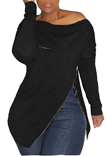 Women's Sexy Long Sleeve Tops One Shoulder Shirt Loose Solid Split Pullover Top Tunic Blouse Jumper with Zipper Plus Size Black