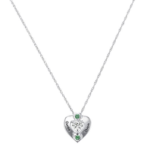 ArtCarved Maitea Custom Birthstone Pendant Necklace, 10k White Gold