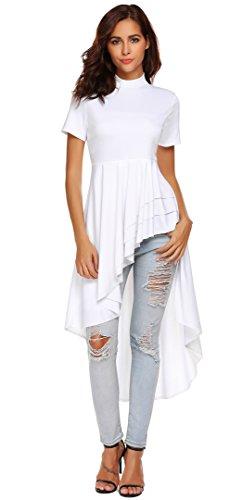 (SimpleFun Women Short Sleeve High Low Peplum Dress Bodycon Party Club Asymmetrical Dress (White,S))