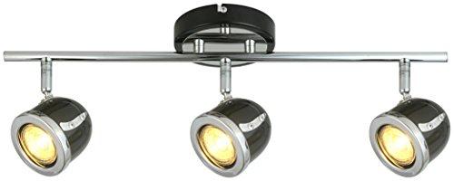LED Retro Adjustable Eyeball Black &Chrome Ceiling Spotlight (Black & Chrome, 3 Lights Bar)