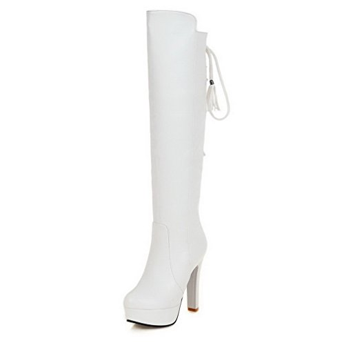 AgooLar Women's High-top Solid Zipper Round Closed Toe High-Heels Boots White