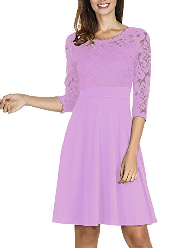 Sleeve Cocktail Dress for Wedding Guest Lace Neck Lilac M ()