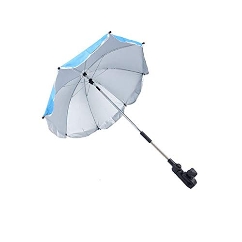 Clamp-On Shade Umbrella, with Umbrella Clip Fixing Device, Great for Beach Chairs, Bleachers, Strollers, Wagons, Wheel Chairs or Golf Carts, Blue