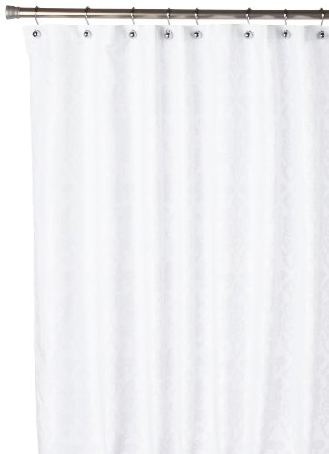 Carnation Home Fashions Damask Fabric Shower Curtain, White On White